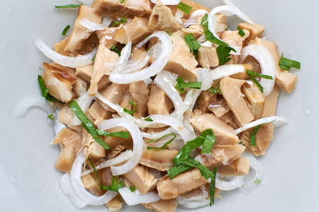 lactarius: salted mushrooms Lactarius resimus with onion and vegetable oil