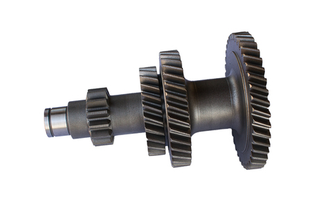 gear unit intermediate shaft under the Circlip on isolated background