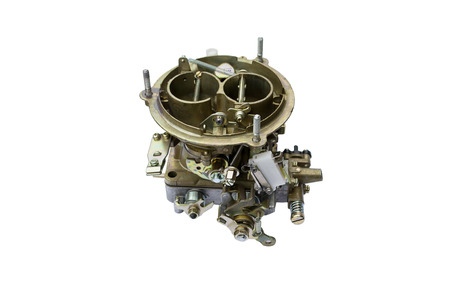 carburetor: Carburetor from car engine, isolated on white Stock Photo
