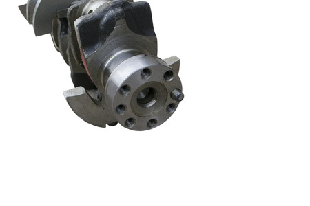flange of fastening of a flywheel to the crankshaft on an isolated white background