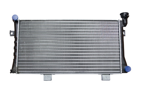 Engine cooling radiator isolated on a white background Banco de Imagens
