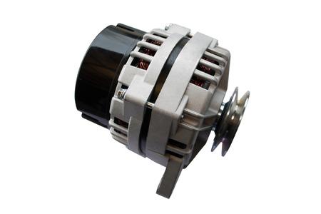 Alternator. Image of car alternator isolated on white background. Stock Photo