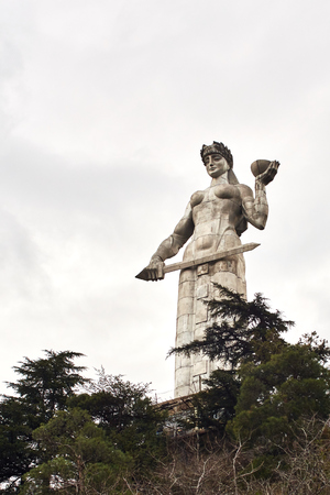 TBILISI, GEORGIA - MARCH  09 2018:The monument to the famous Georgian symbol Qartlis deda.Tbilisi.The Republic Of Georgia. Mother of the Georgians statue. Stock fotó - 100197084