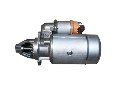 Electric Starter for a car with solenoid isolated on white background. Car spare parts