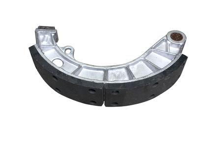 aluminum brake Shoe with lining isolated on white Standard-Bild