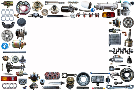Spare parts car on the white background set. Frame for advertising and assembled from auto parts, spare parts. Imagens