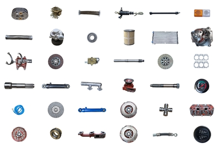 Auto spare parts car on the white background. Set with many isolated items for shop or aftermarket Фото со стока