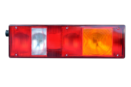 truck tail light close up on isolated white background