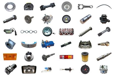 Auto spare parts car on the white background. Set with many isolated items for shop or aftermarket Stock Photo
