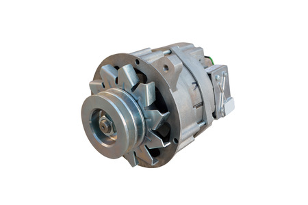 Car alternator isolated on white.