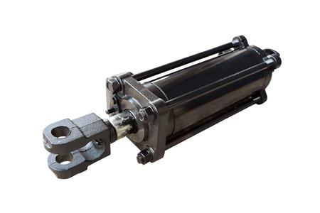 cilindro idraulico del trattore isolato su sfondo bianco Archivio Fotografico