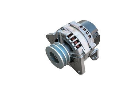 Car alternator isolated on white. Clipping path included. Stock Photo