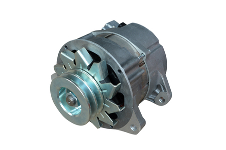 Alternator. Image of car alternator isolated on white. Clipping path included. Stock Photo