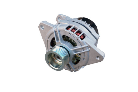 Car alternator isolated on white. Clipping path included.