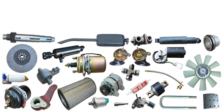 Borders of car parts isolated on white background. Stockfoto