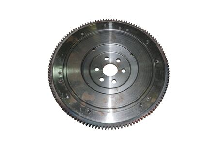 Flywheel for automotive diesel engine on a white Stock Photo