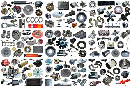 Auto spare parts car on the white background. Set with many isolated items for shop or aftermarket. Фото со стока