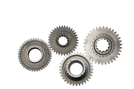 metal gears isolated on white background collage