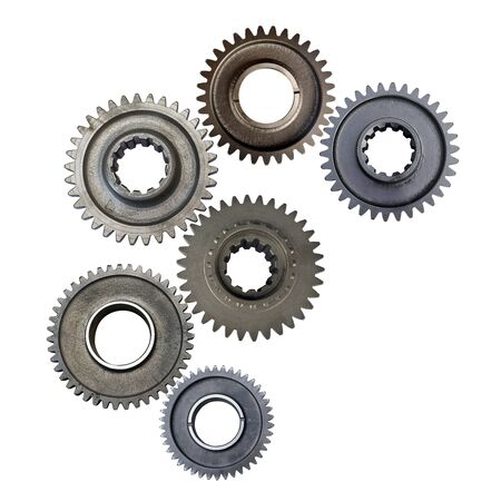 metal gears isolated on white background collage Imagens
