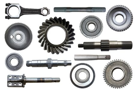 Industrial metal objects isolated on a white background.