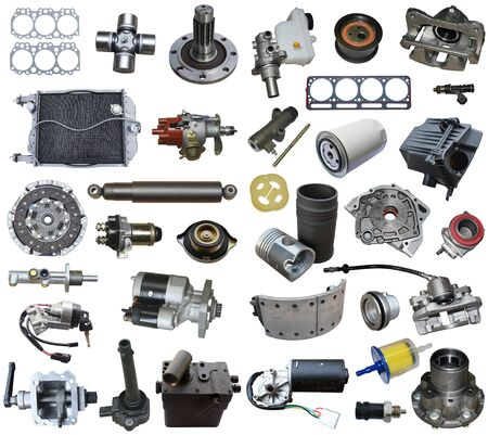 Auto parts, vehicle parts, car accessories isolated on a white background. Banque d'images