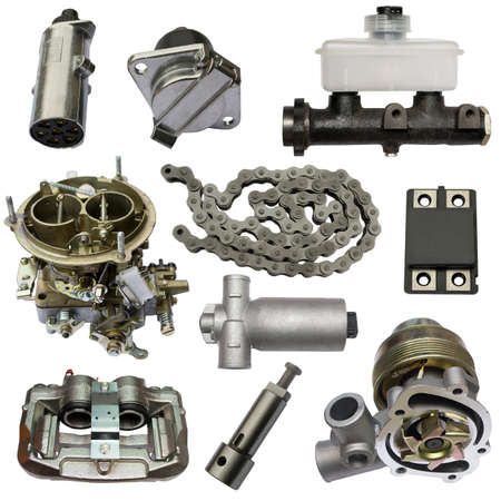 Auto spare parts car on the white background. Set with many isolated items for shop or aftermarket. Banque d'images