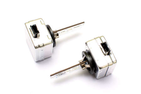 Car xenon lamp D1S isolated on a white background. Spare parts.
