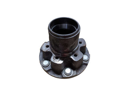 Car wheel hub on an isolated white background. Spare parts.