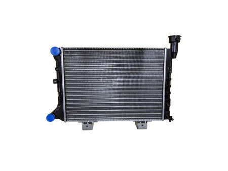 Car radiator isolated over white background. New spare parts.