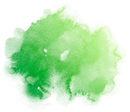 Abstract green watercolor on white background.The color splashing on the paper.It is a hand drawn.