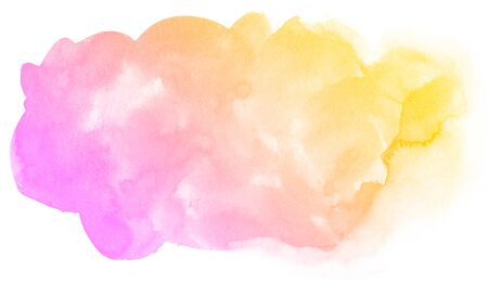 orange color: Abstract pink watercolor on white background.The color splashing on the paper.It is a hand drawn.