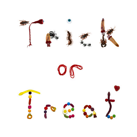 The words Trick or Treat written in candy and toy bugs