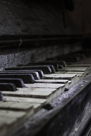 rickety: Close up of the keys of an old broken piano Stock Photo
