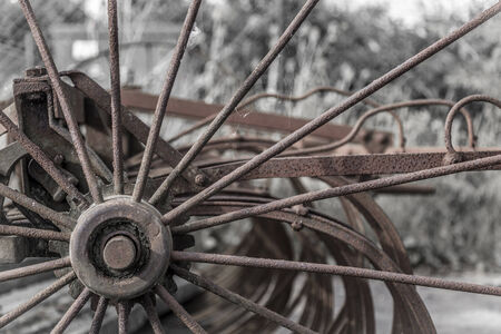 harrow: Close up of rusty old fashioned harrow farm machinery