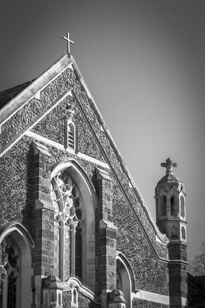 Monochrome image of an old stone church in historic St Ives Imagens