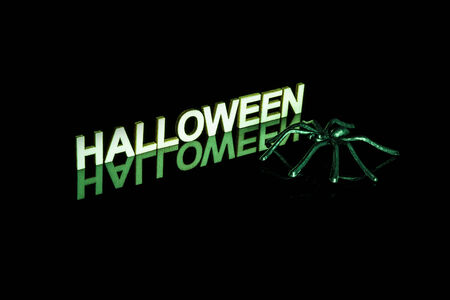 The word halloween in wooden letters reflected on a black background with a fake plastic spider. Spooky green lighting. Imagens