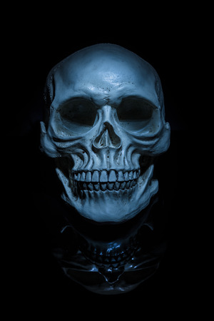 A spooky looking skull with darker reflection under, on a black background Imagens