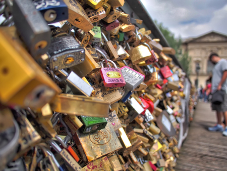 paris france: Paris, France, Europe - June 21, 2013: love locks on Pont des Arts bridge in Paris, France Editorial