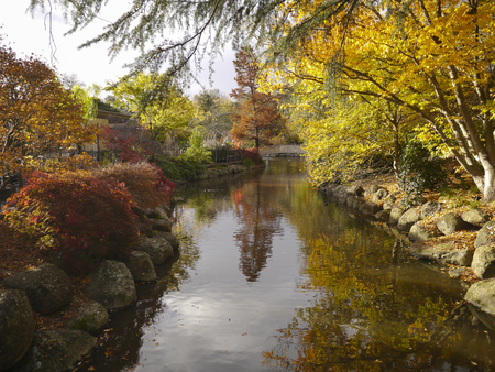 autumn landscape: Autumn landscape with reflections in river Stock Photo
