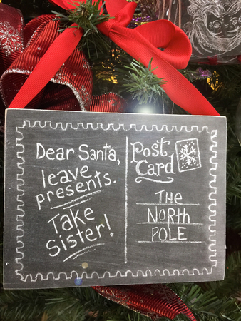 sibling rivalry: Funny Christmas sign  post card to Santa on Christmas tree: Dear Santa leave presents take sister