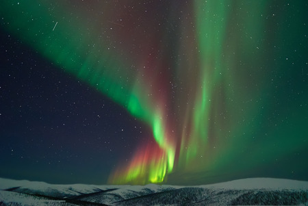 Aurora Borealis and meteors