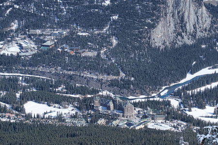 banff: aerial view of Fairmont Banff Springs and Banff Canada