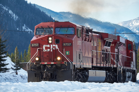 goods train: Banff, Canada - March 18, 2014: Canadian Pacific train with Canadian Rockies in the background in winter Editorial