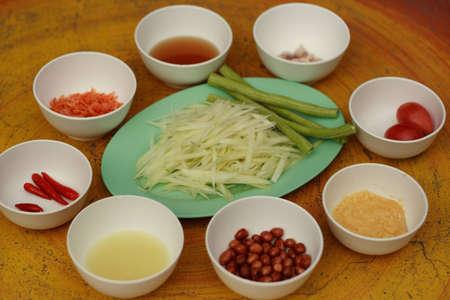Ingredient of green papaya salad