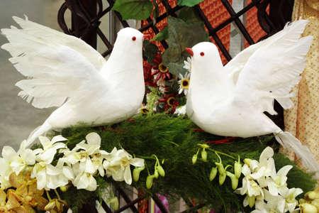 Artificial white birds Stock Photo
