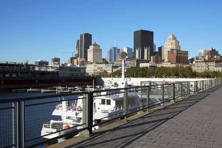 montreal: A view of Montreal Downtown from the Old Port Stock Photo
