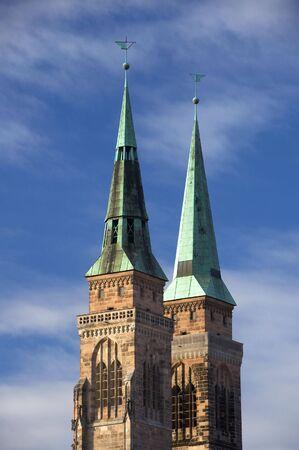 steeples: Close-up on steeples of St Sebaldus Church, Nuremberg, Germany Stock Photo