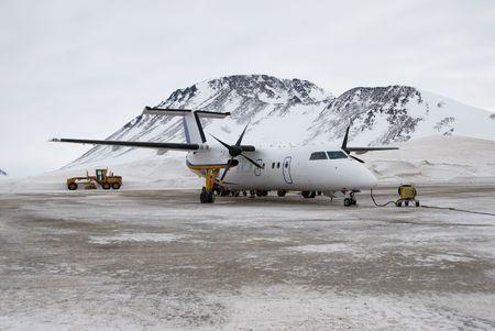 turboprop: A dash8-100 aircraft at Kulusuk Airport, Greenland