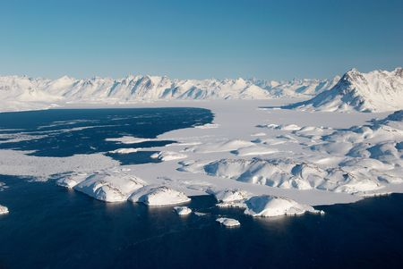 greenland: Landscape of ice floe and mountains, Greenland