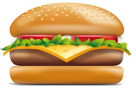 Illustration of a cheeseburger with meat and cheese